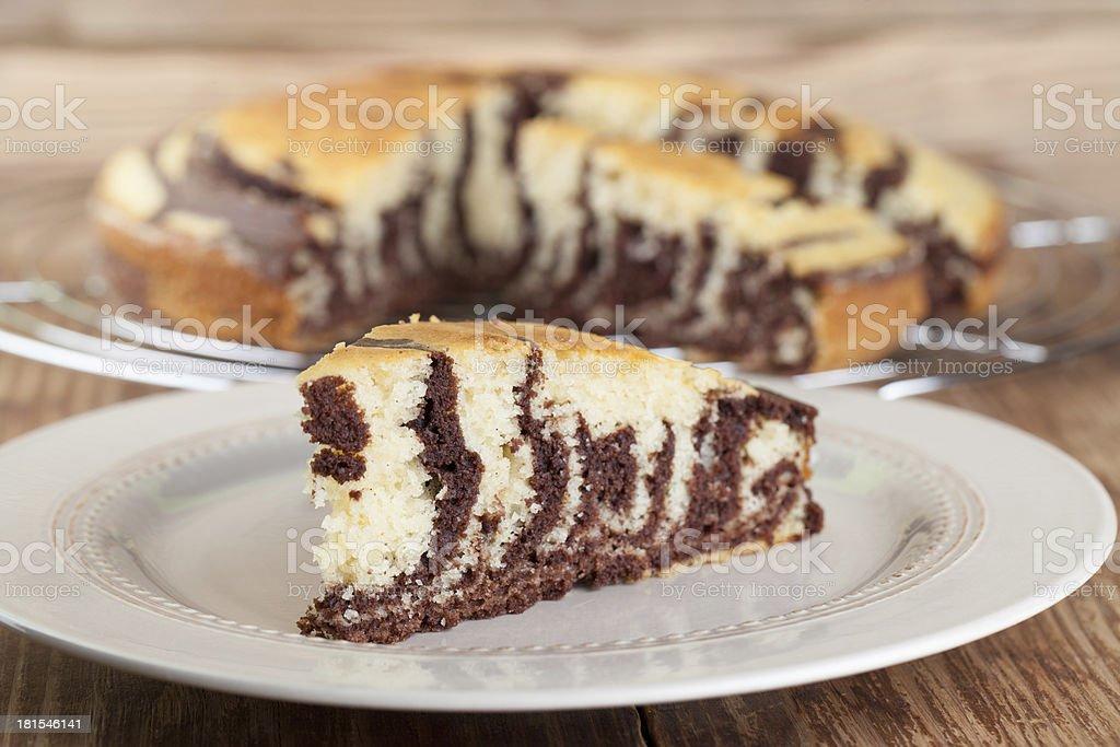 Zebra marble cake stock photo