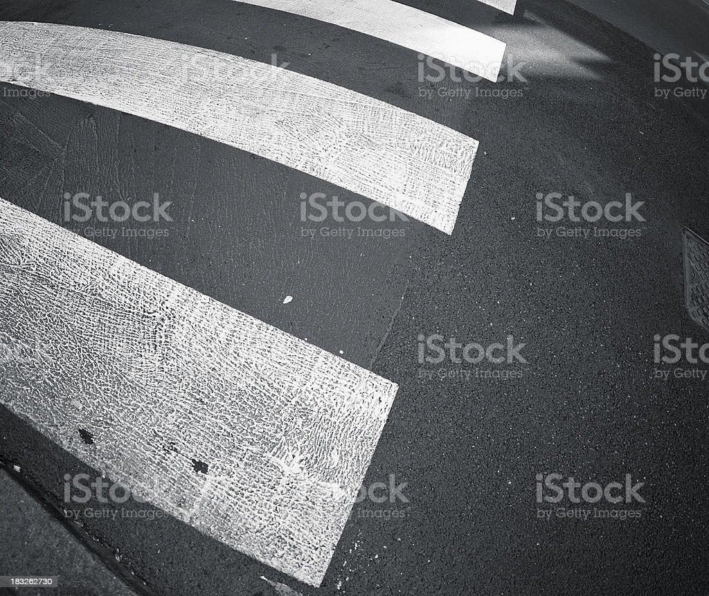 zebra pedestrian crossing in the city center -Milan royalty-free stock photo