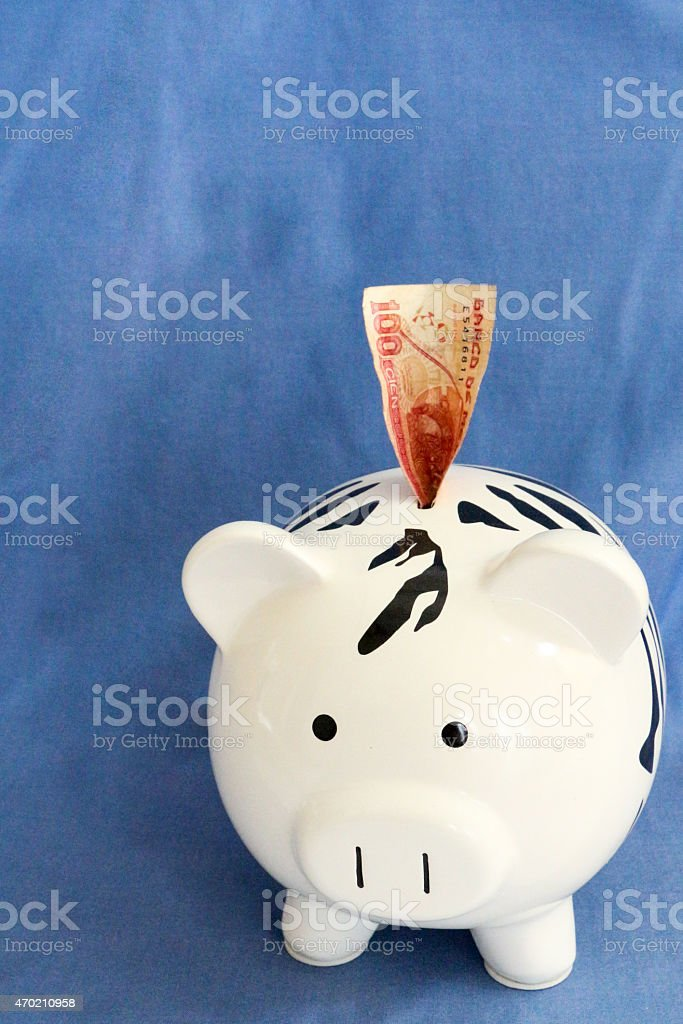 Zebra striped piggy bank with a peso note sticking out stock photo