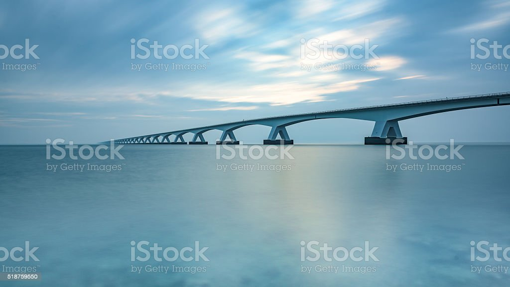 Zeeland bridge early in the morning stock photo