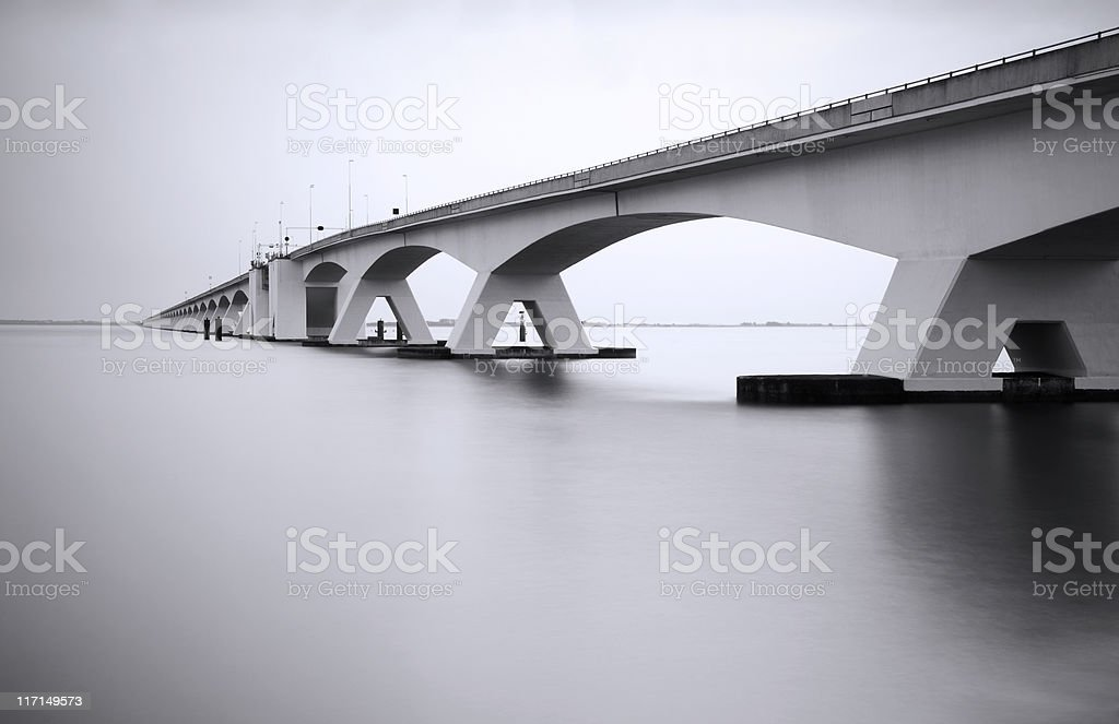 Zeeland Bridge in long exposure stock photo