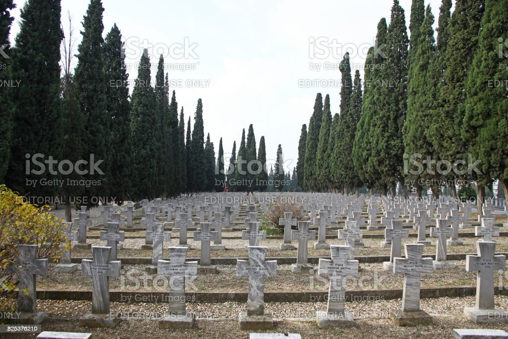 Zeitenlik, the Allied military cemetery and WWI memorial park in Thessaloniki, Greece stock photo