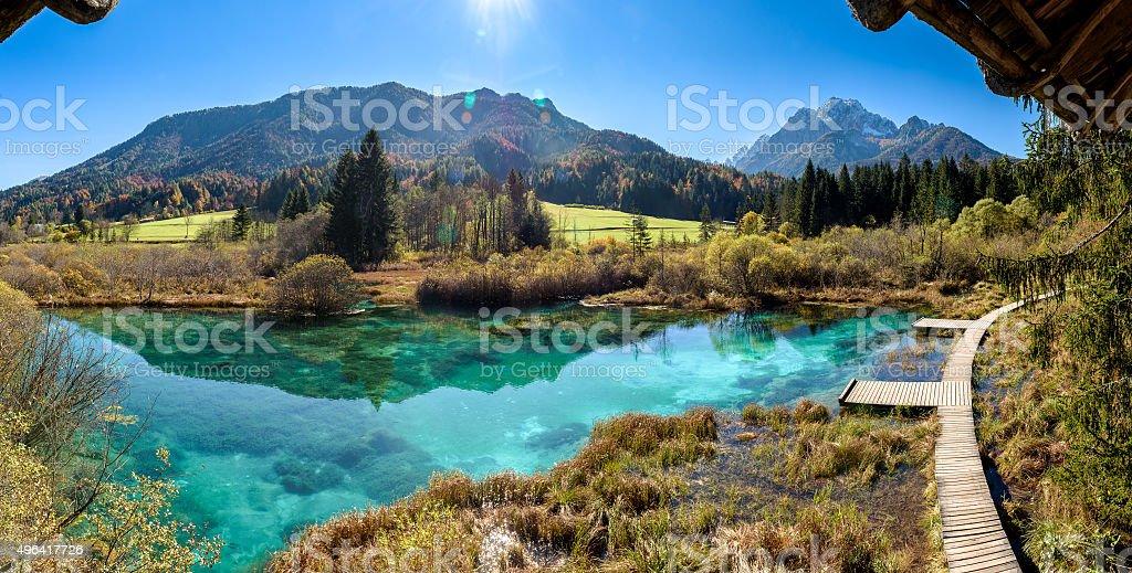 Zelenci lake in Slovenia. stock photo