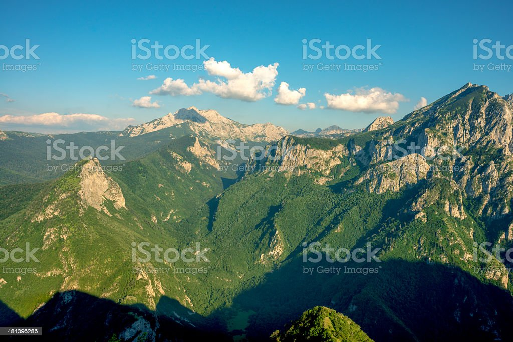 Zelengora Mountain Range and view to Magli?, Bosnia and Herzegovina stock photo