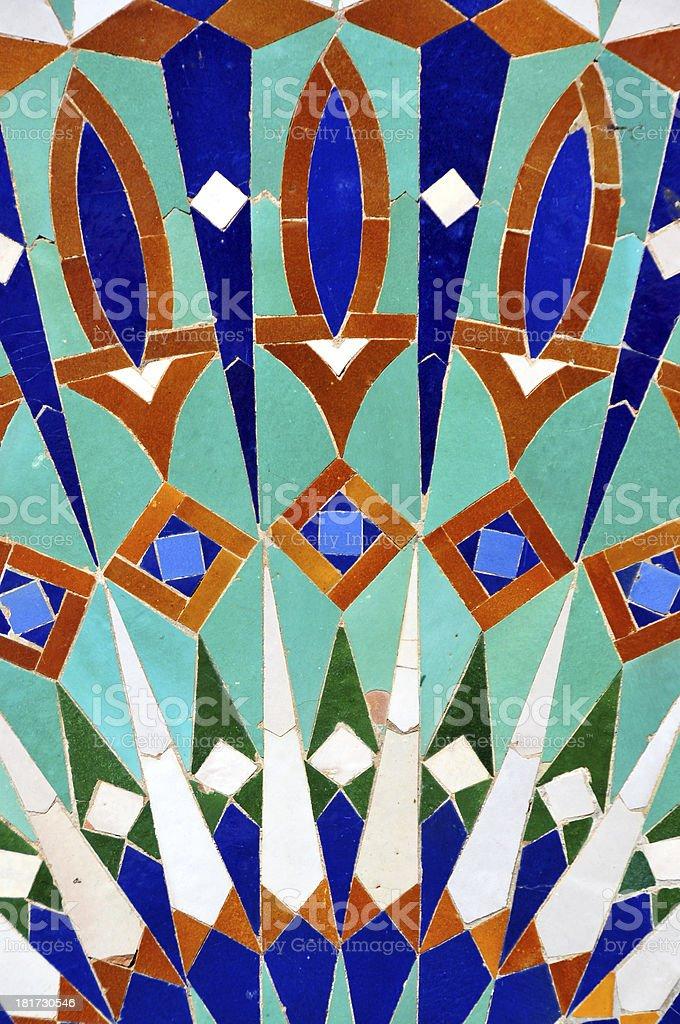 zellige tilework decoration, Moroccan terracotta geometrical mosaics stock photo