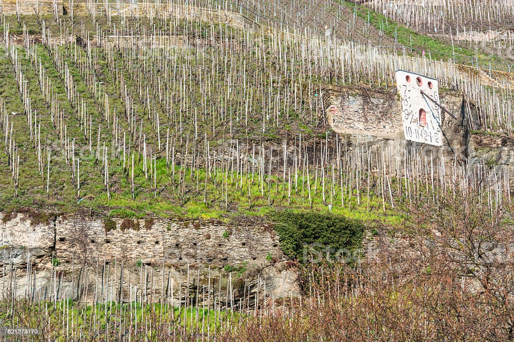 Zeltinger sundial in the wine-growing town on the Mosel stock photo