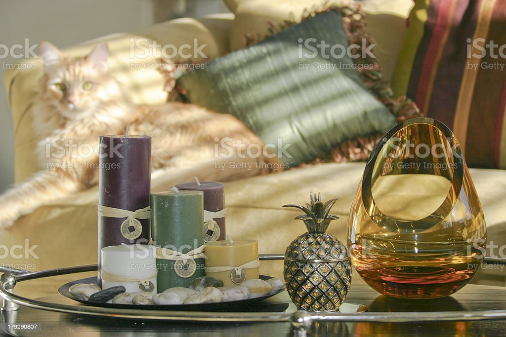 Zen Accessories with Cat Background stock photo