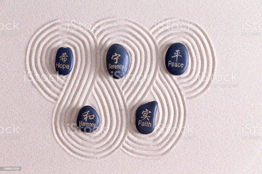 Zen art with stones on golden sand stock photo