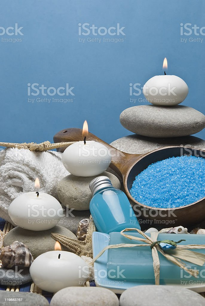 Zen balance and blue soaps. royalty-free stock photo