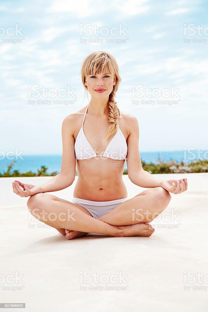 Zen beauty in bikini stock photo