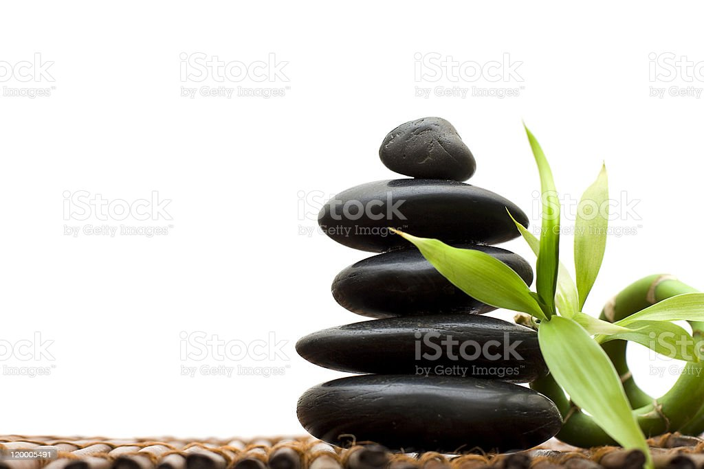 Zen concept with bamboo and stone royalty-free stock photo