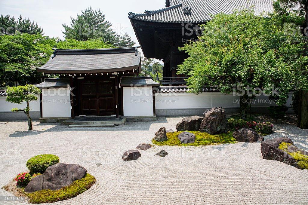 zen garden at Hyakumanben Chionji Temple in kyoto japan stock photo