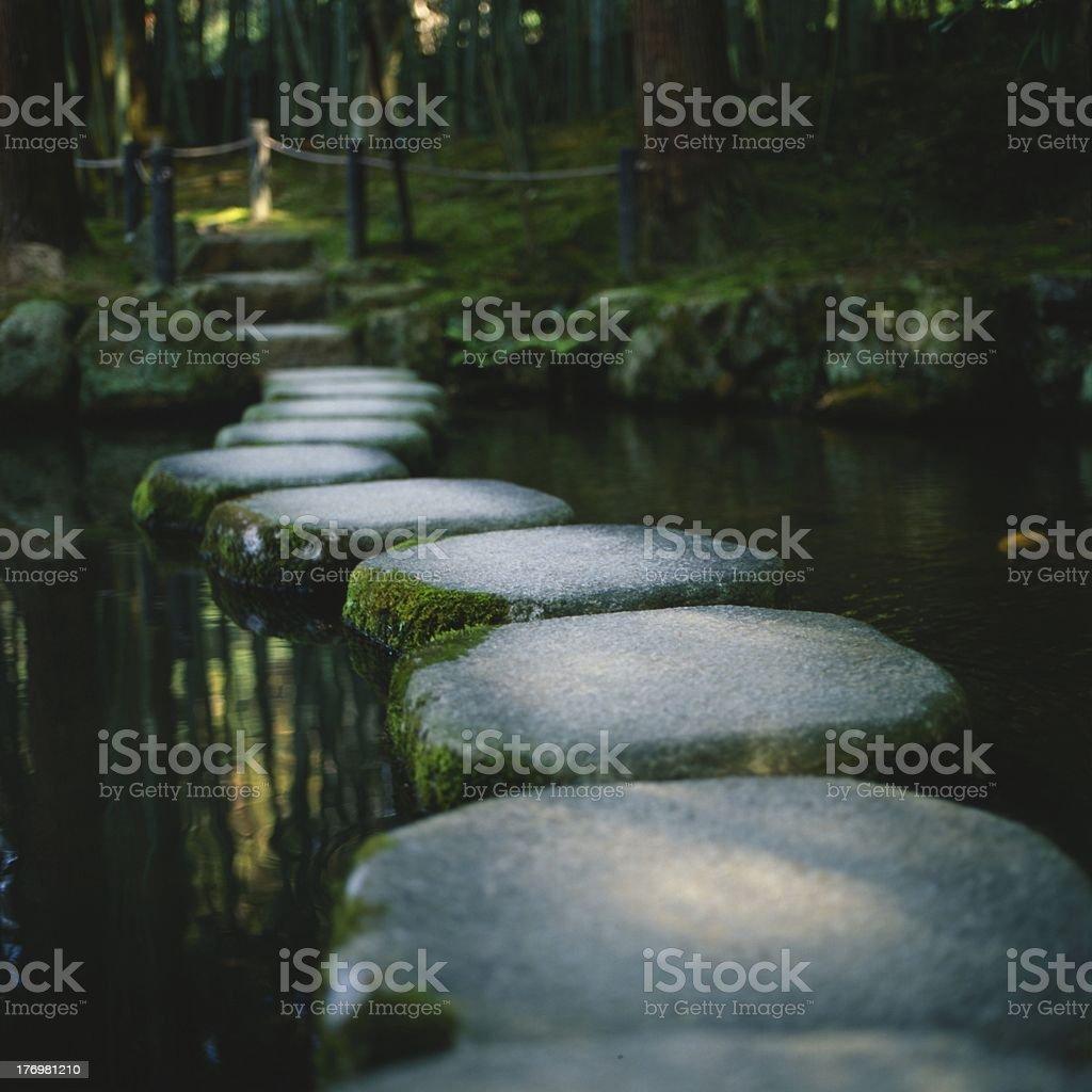 Zen garden stepping stones in Kyoto, Japan stock photo
