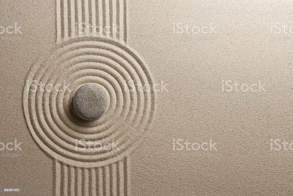 A Zen garden with a very unique and well made design in it  stock photo