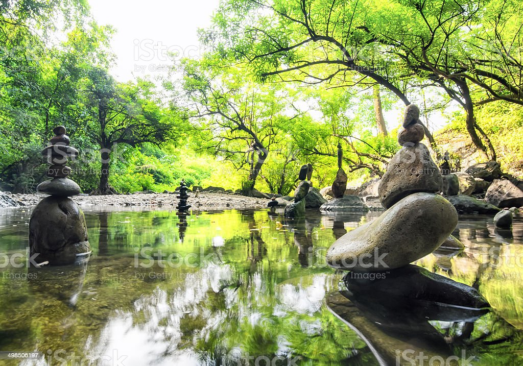 Zen meditation landscape. Calm and spiritual nature environment stock photo
