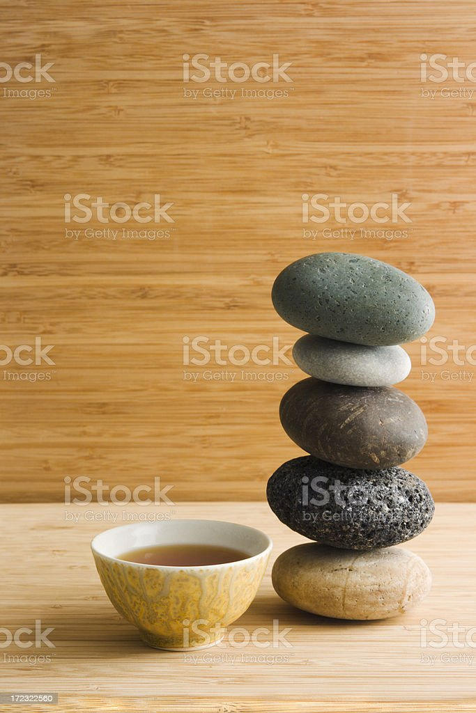 Zen Pebbles & Tea royalty-free stock photo