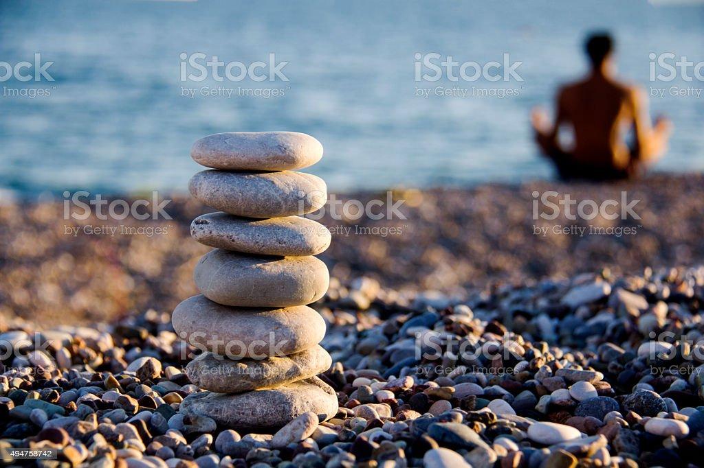 Zen rocks at beach. stock photo