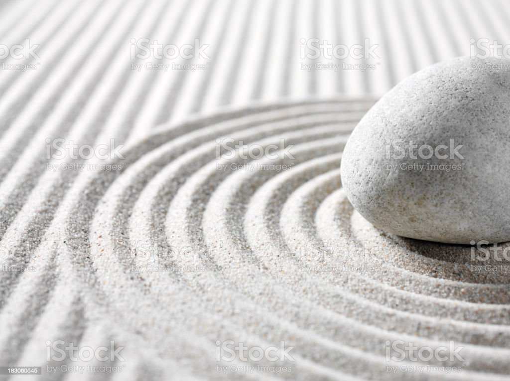 Zen Sand and Rock Garden stock photo