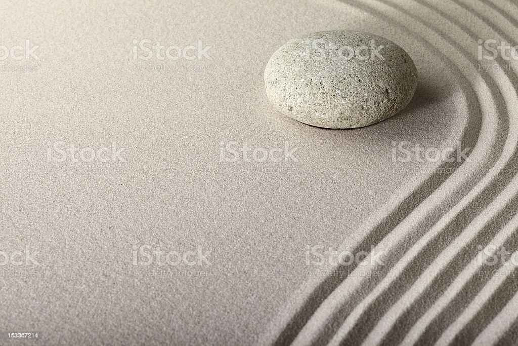 zen sand stone garden stock photo