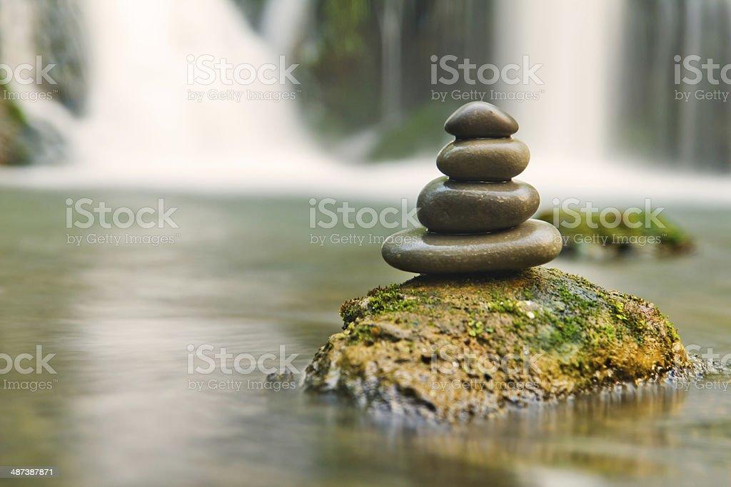 Zen stones and waterfall stock photo