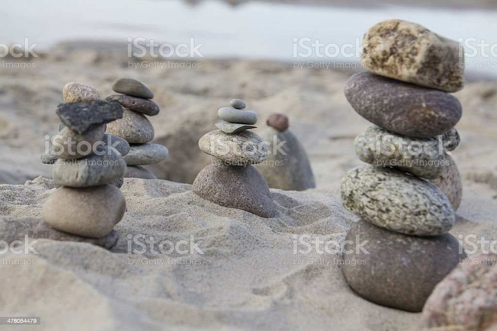 Zen stones on a beach royalty-free stock photo