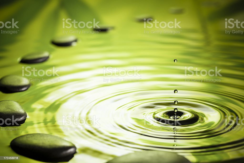 Zen Stones - Water Ripple Green Zen-Like Hot stock photo