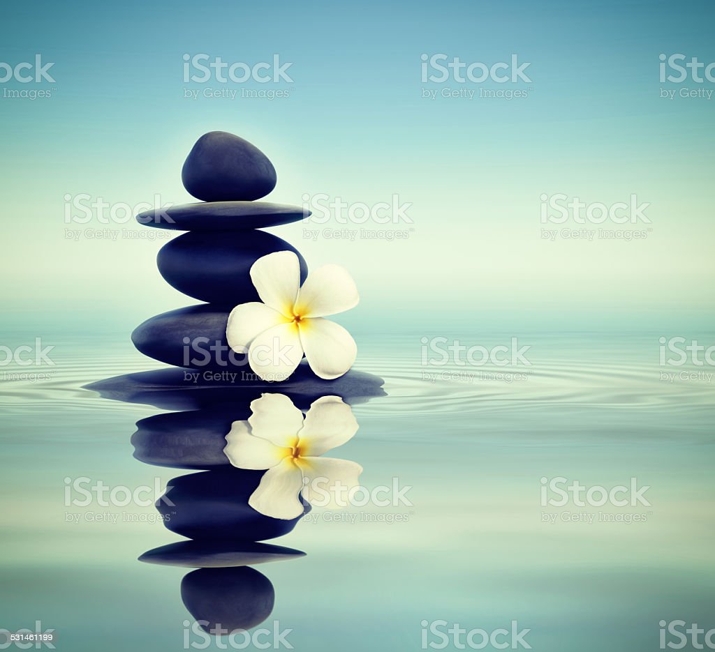 Zen stones with frangipani stock photo