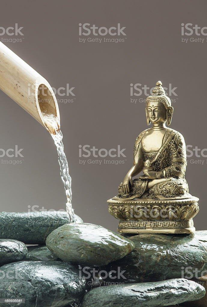 zen water with meditating Buddha stock photo