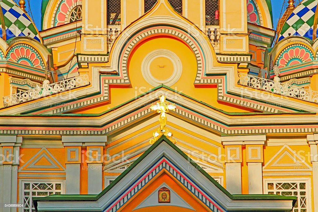 Zenkov Cathedral in Almaty, Kazakhstan. stock photo