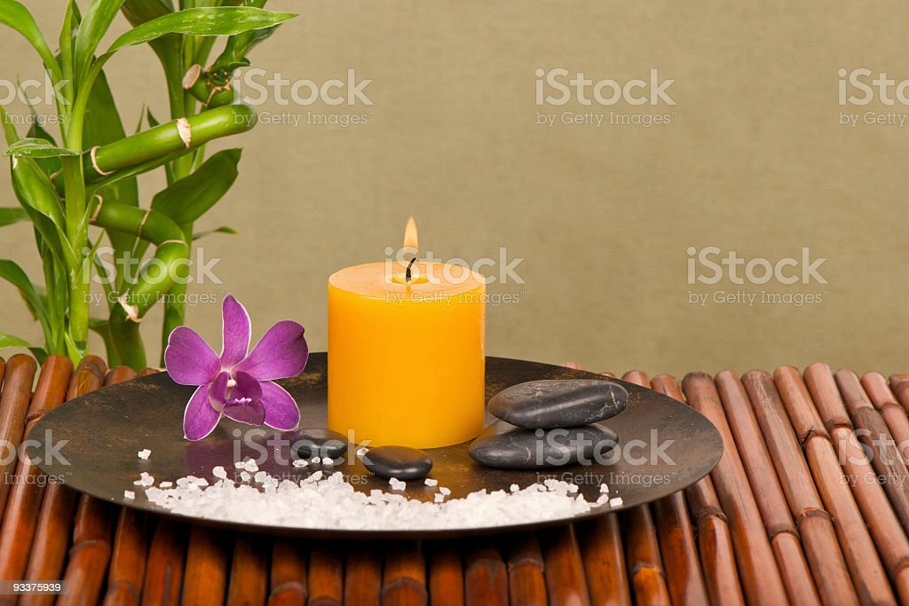 Zen-Like, Serenity Scene with Aromatherapy Candle royalty-free stock photo