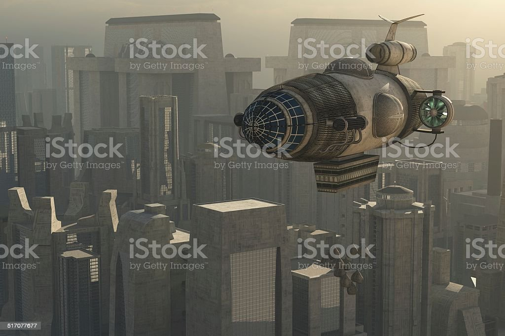 Zeppelin and cityscape stock photo