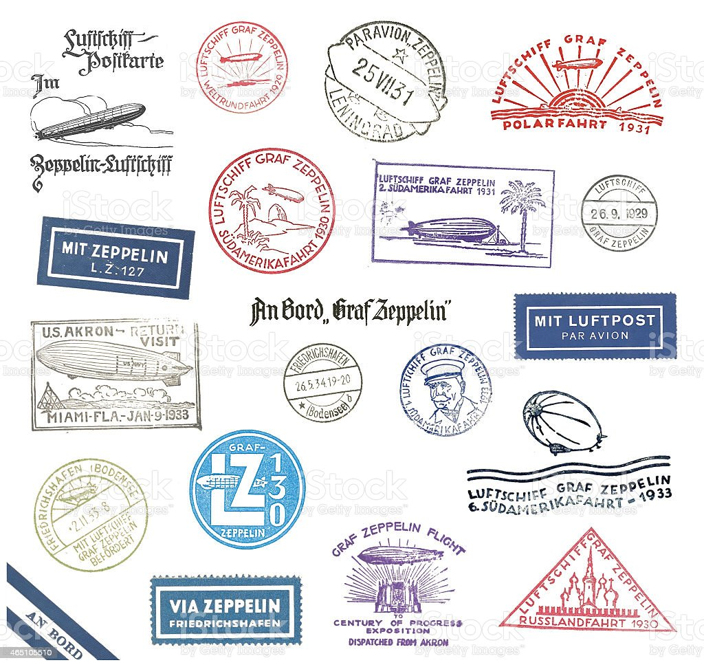 Zeppelin Postmarks from Germany stock photo
