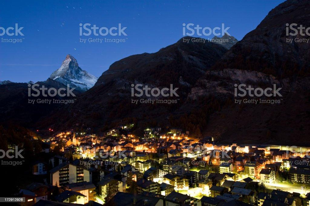 Zermatt and Matterhorn at Dusk stock photo