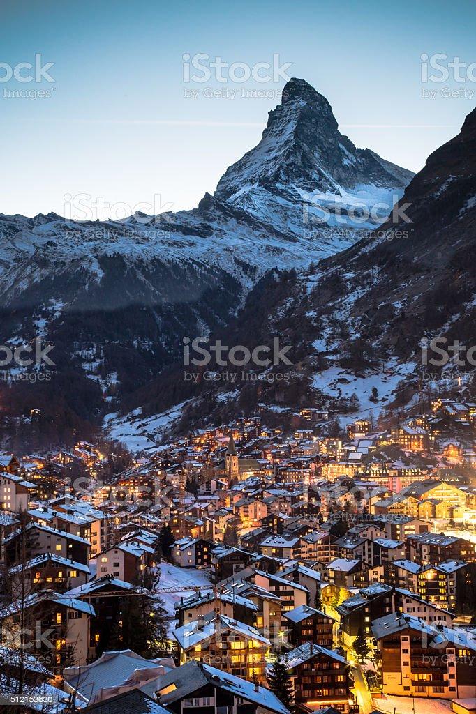 Zermatt and Matterhorn stock photo