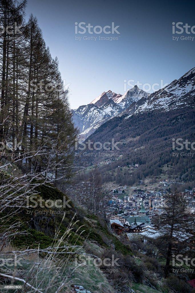 Zermatt by night stock photo