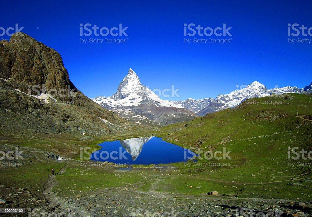 Zermatt green city in switzerland. view of Matterhorn in s stock photo
