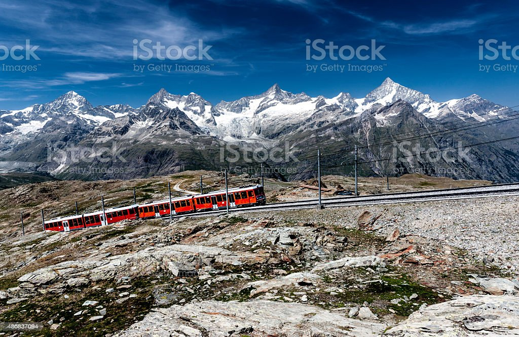 Zermatt mountain railway stock photo