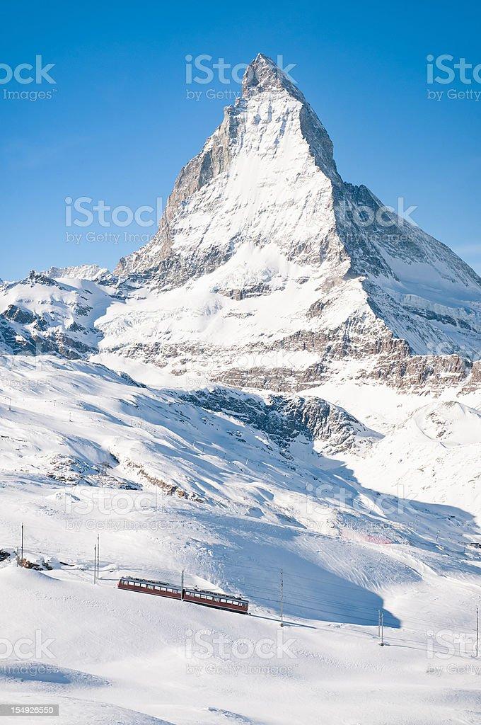 Zermatt Mountain Train and Snow Covered Matterhorn royalty-free stock photo