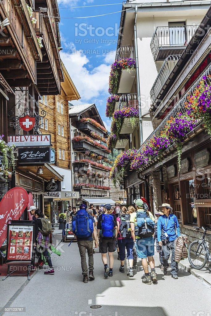 Zermatt street scene, Switzerland stock photo