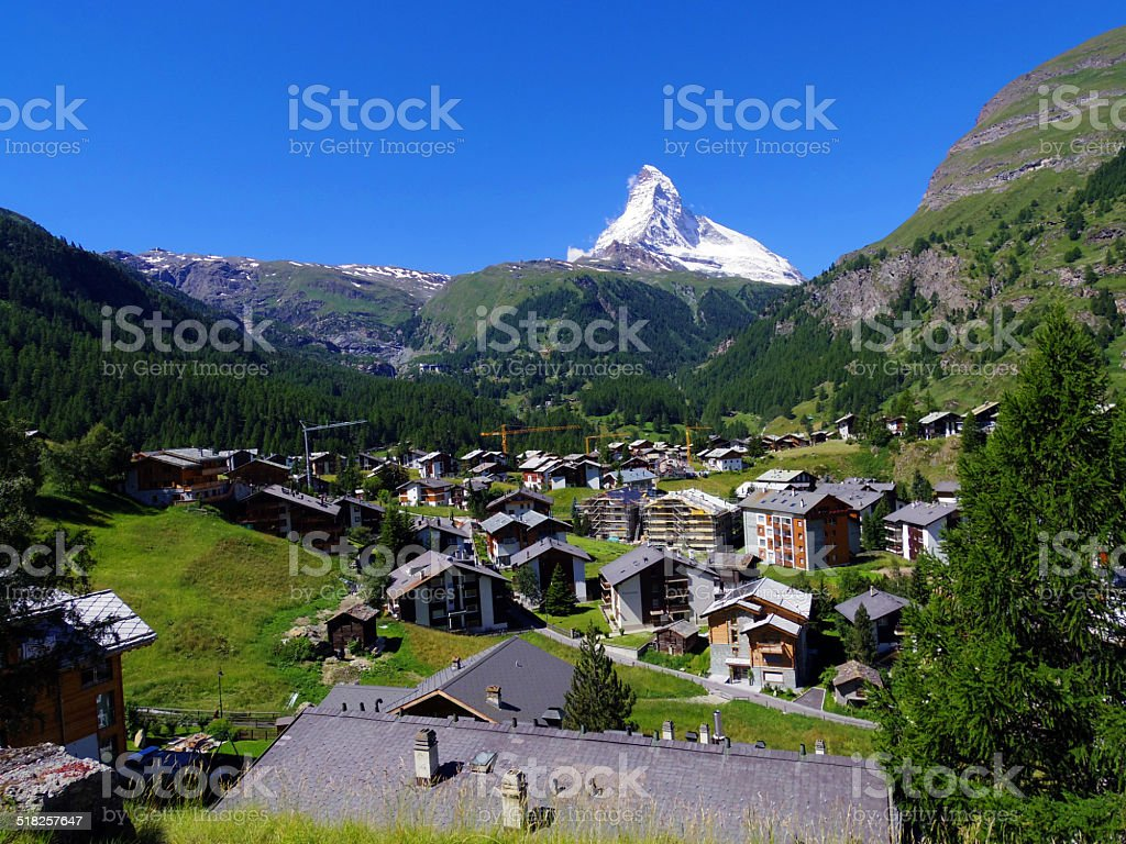 Zermatt Switzerland, green city stock photo