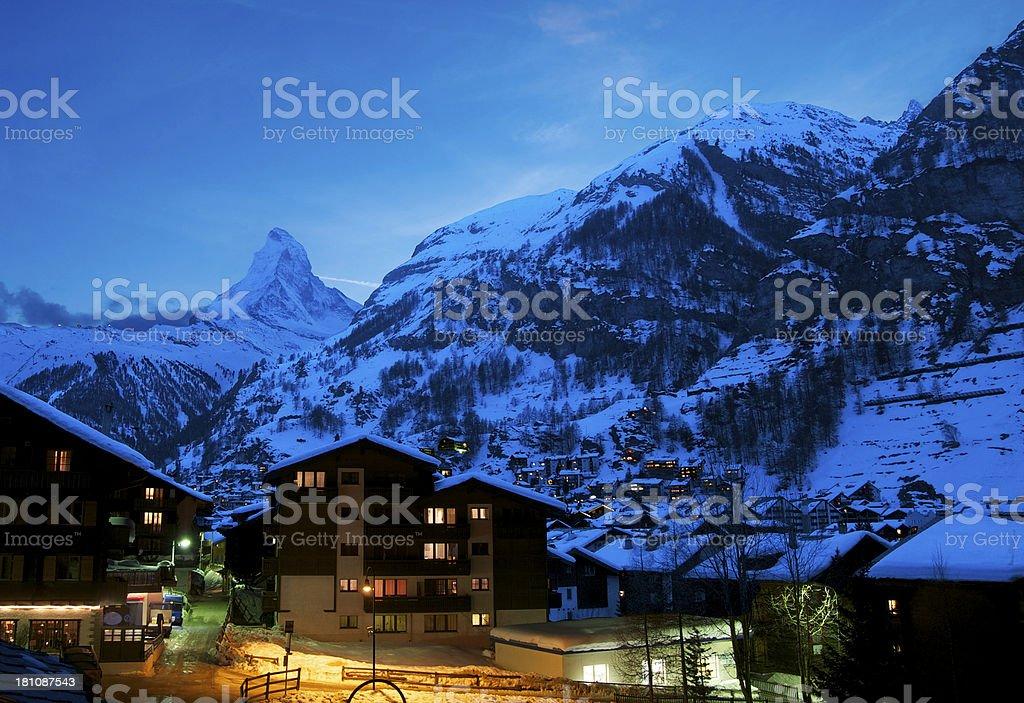 Zermatt town with the magnificient Matterhorn background royalty-free stock photo