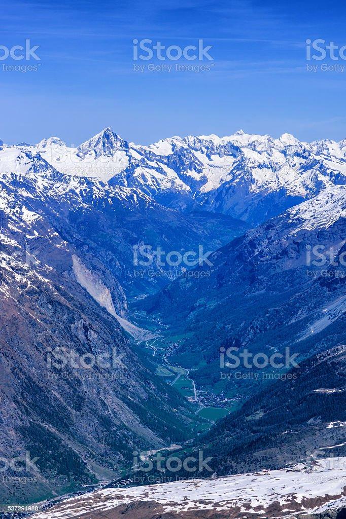 Zermatt village among alps in aerial view stock photo