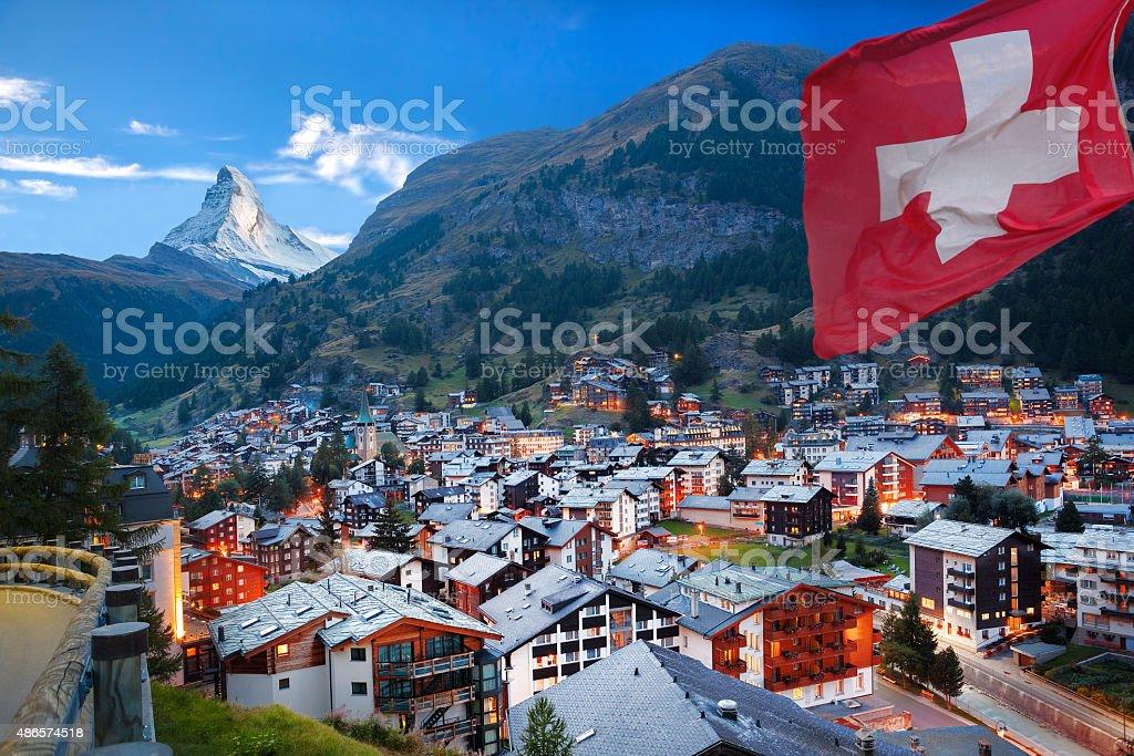 Zermatt village with view of Matterhorn in the Swiss Alps stock photo