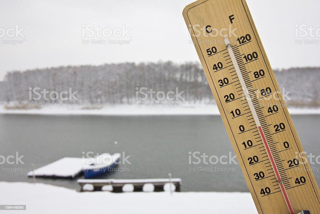 zero degree Celsius on the river coast stock photo