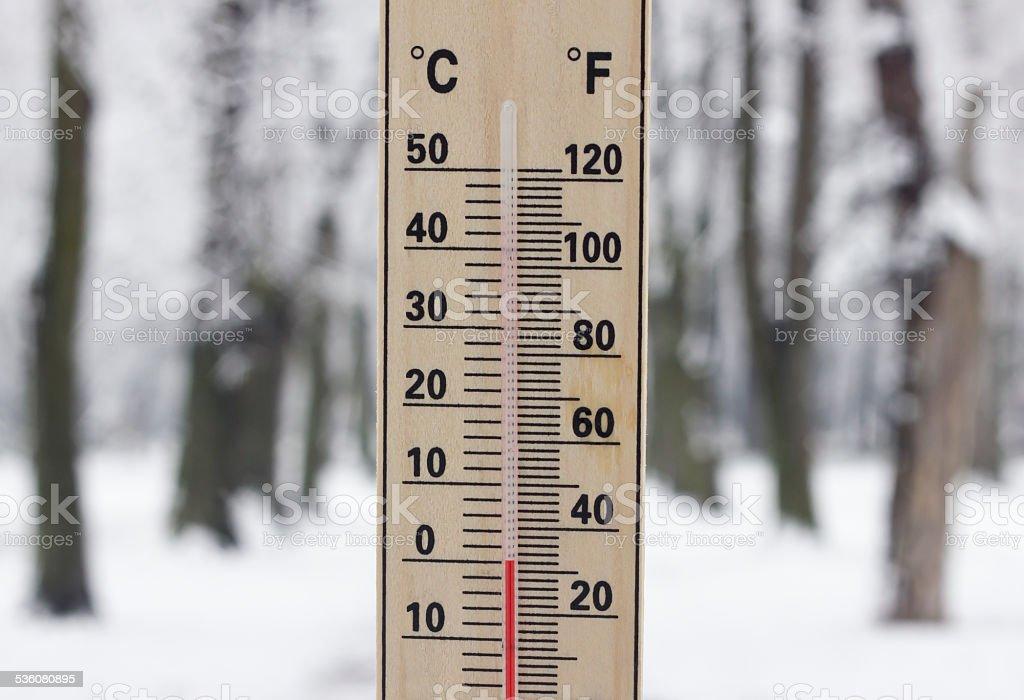 Zero degree cold stock photo