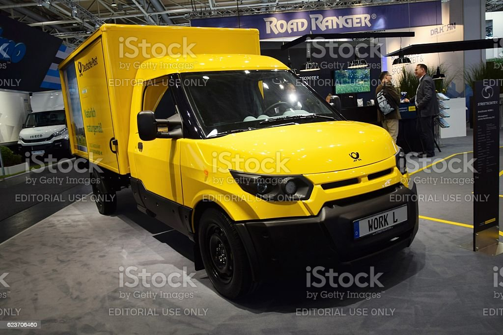 Zero emission Deutsche Post vehicle on the motor show stock photo