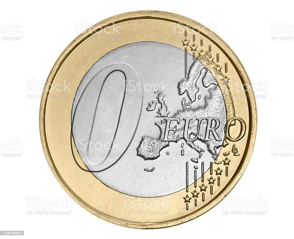 Zero  euro coin stock photo