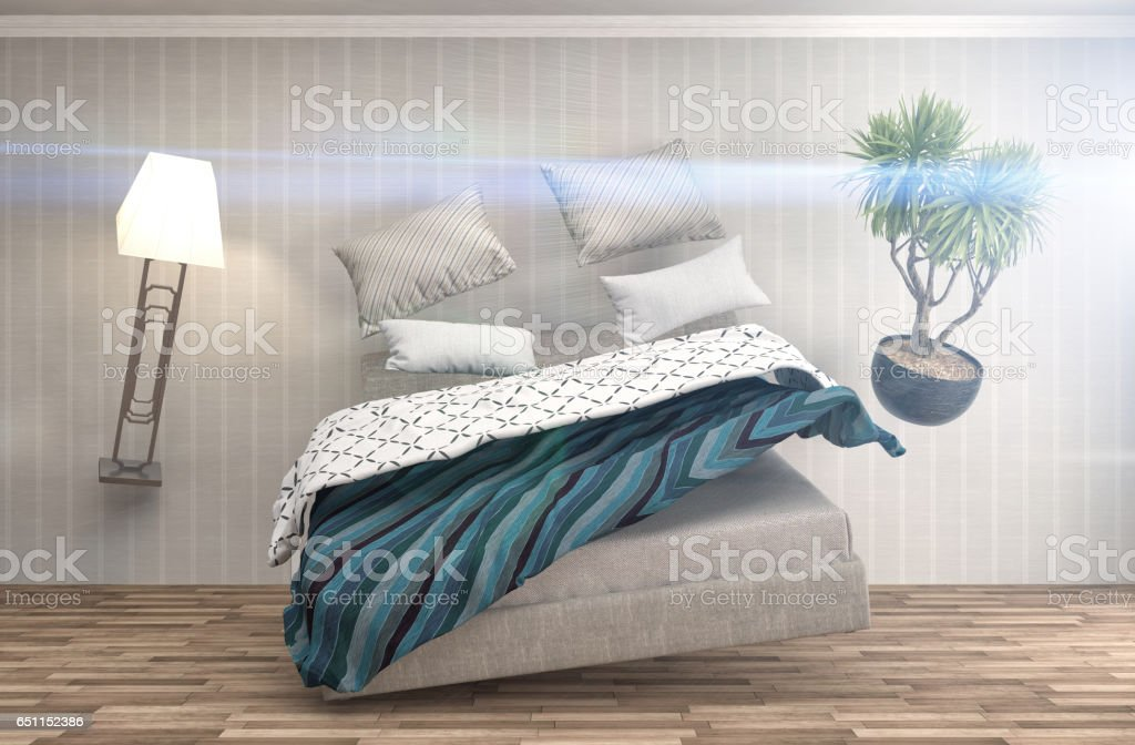 zero gravity bed hovering in living room. 3d illustration stock photo