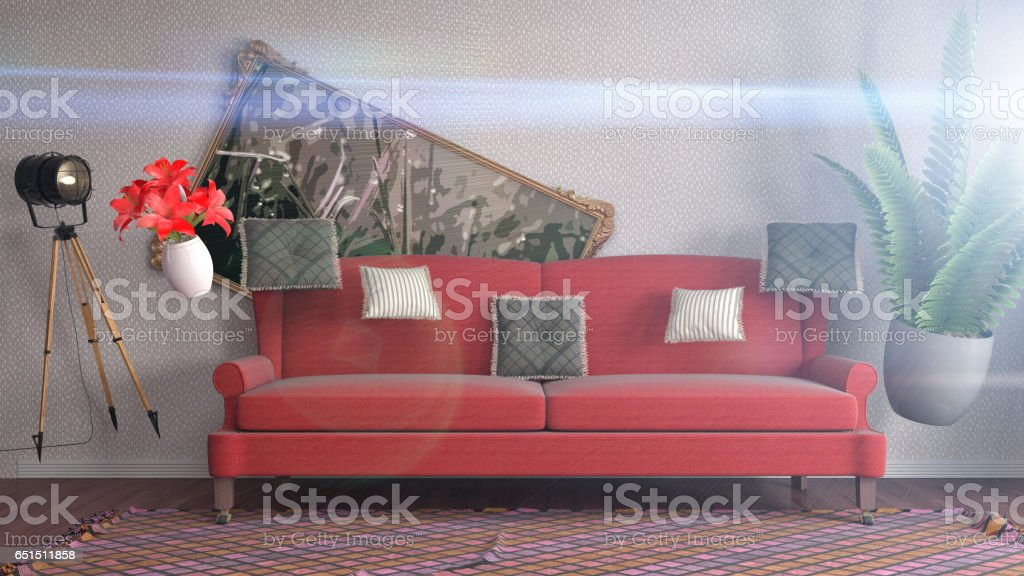 Zero Gravity furniture hovering in living room. 3D Illustration stock photo
