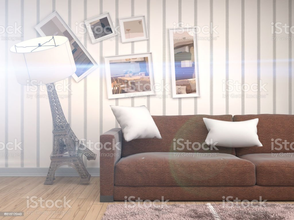 Zero Gravity furniture hovering in living room. 3D Illustration stock photo